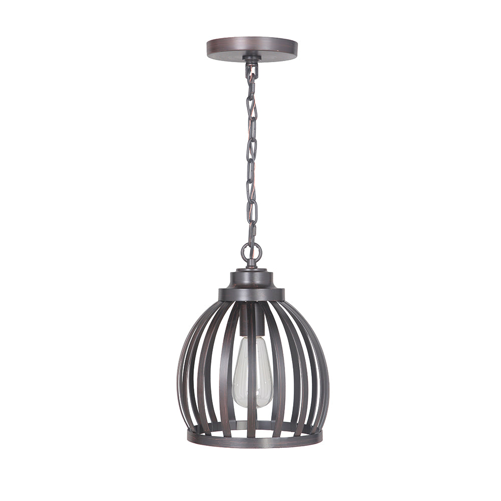 Hardwired Pendant Series 1-Light Brushed Bronze Pendant with Metal Cage Shade - Worth Home Products