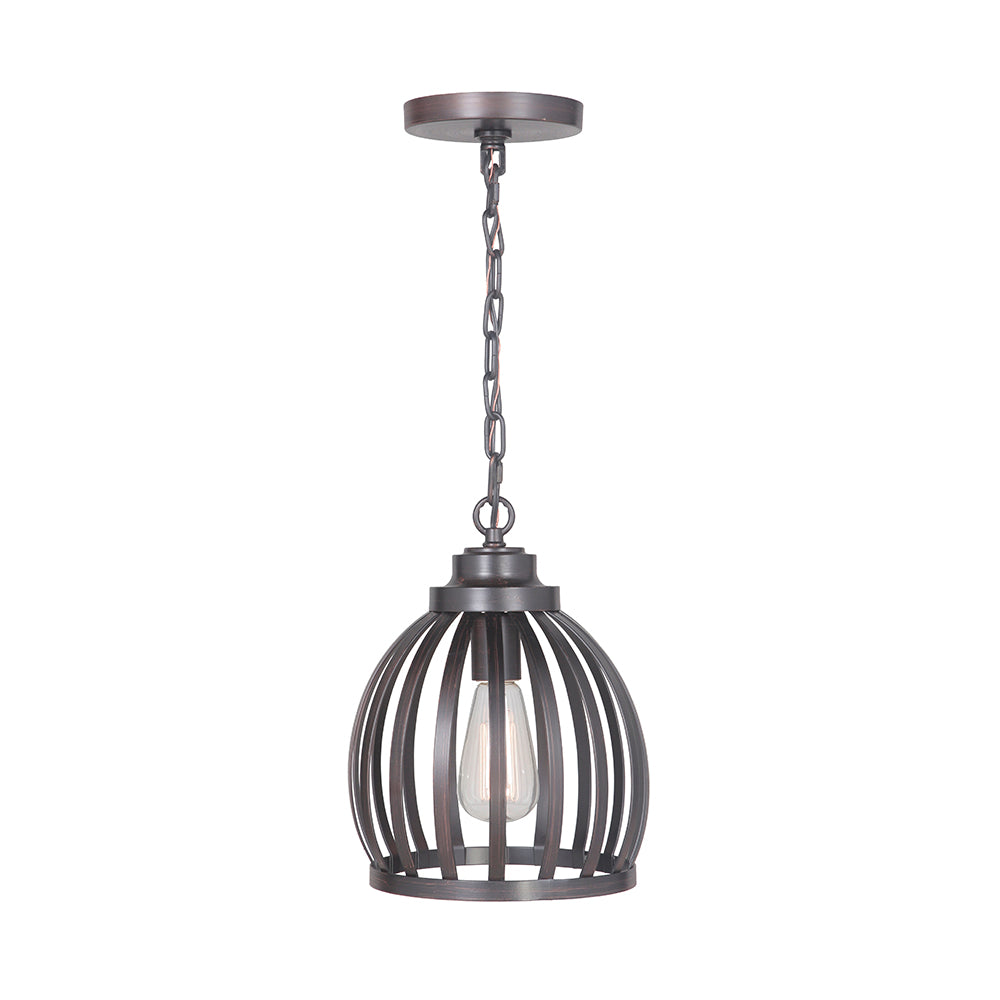 Hardwired Pendant Series 1-Light Brushed Bronze Pendant with Metal Cage Shade PKW-9211 - Worth Home Products