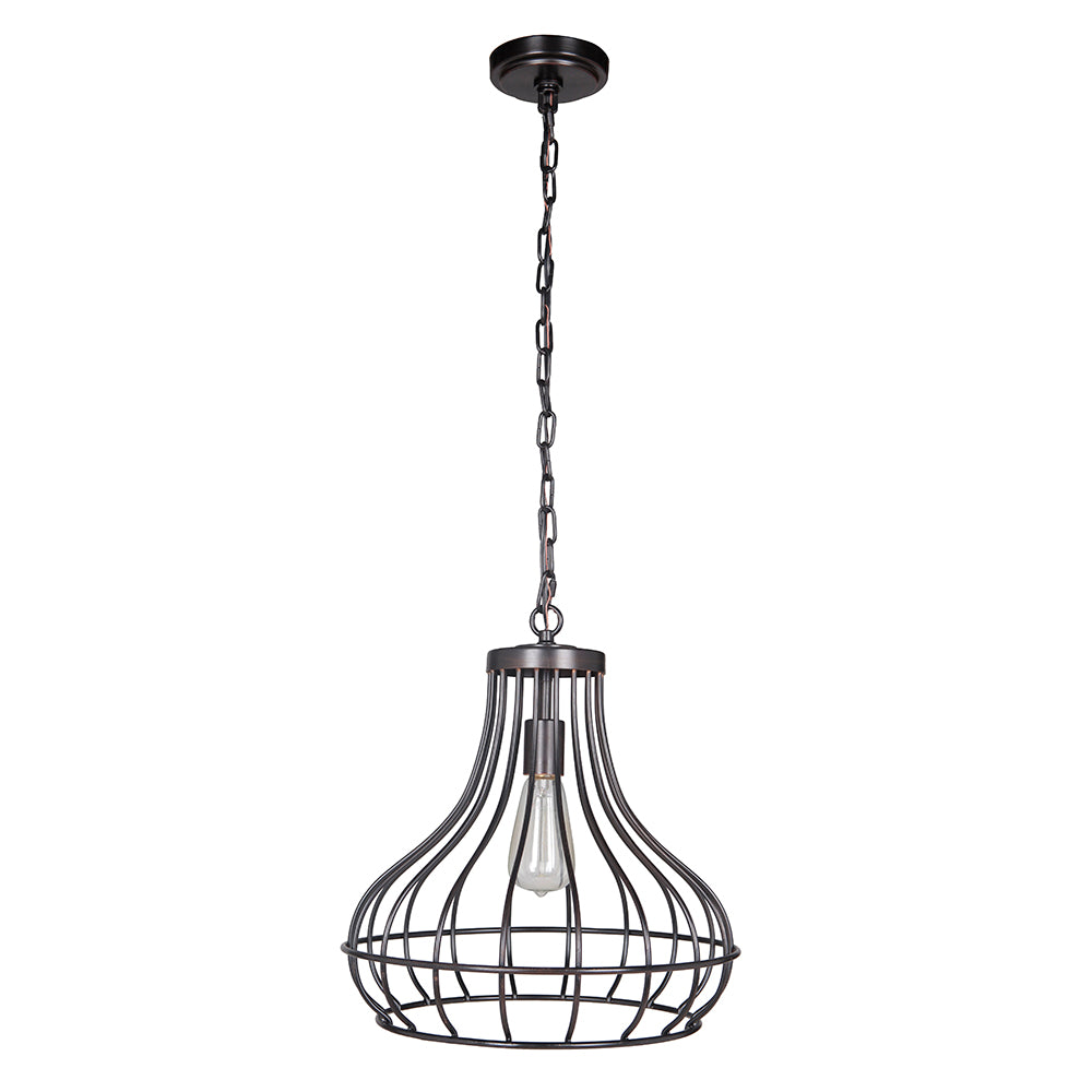 Hardwired Pendant Series 1-Light Brushed Bronze Pendant with Curved Bottom Cage - Worth Home Products
