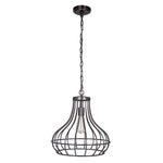 Load image into Gallery viewer, Hardwired Pendant Series 1-Light Brushed Bronze Pendant with Curved Bottom Cage PKW-9311 - Worth Home Products