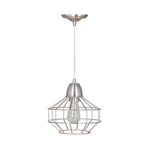 Hardwired Pendant Series Brushed Nickel 1-Light with Angled Cage PKW-9430 - Worth Home Products