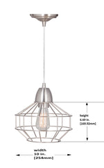 Load image into Gallery viewer, Hardwired Pendant Series Brushed Nickel 1-Light with Angled Cage PKW-9430 - Worth Home Products