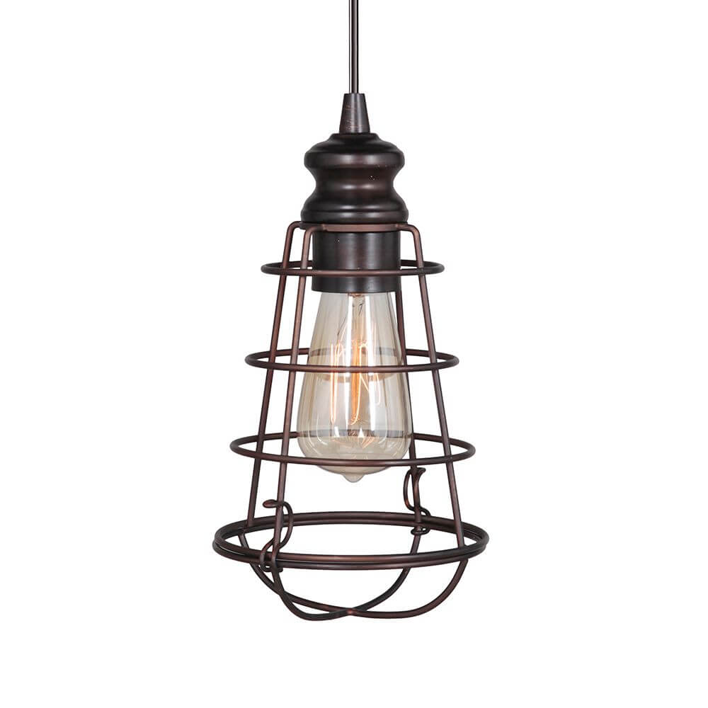 Instant Pendant Light with Small Bronze Cage Shade-PKN-6257-0011 - Worth Home Products