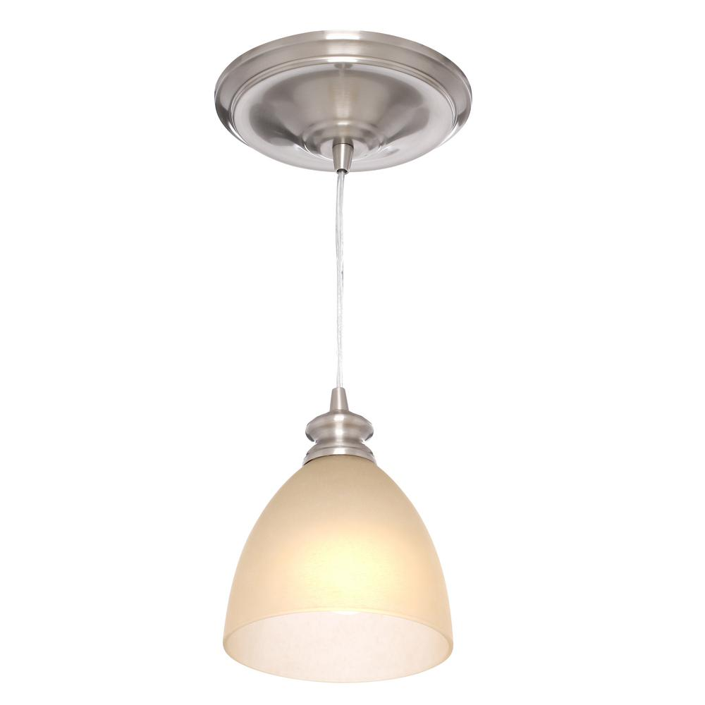 Instant Pendant Recessed Light Conversion Kit Brushed Nickel Glass PBN-6012 - Worth Home Products