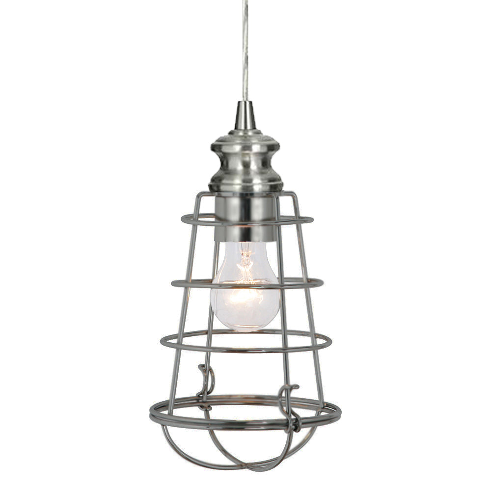 Instant Pendant Light with Small Brushed Nickel Cage Shade - Worth Home Products