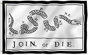 Join or Die Benjamin Franklin Snake White Flag