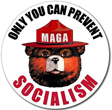 Only You Can Prevent Socialism Sticker (Smokey MAGA Trump 2020)