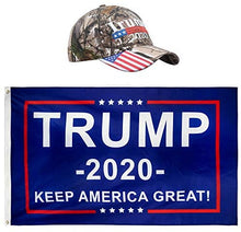 Load image into Gallery viewer, Donald Trump President 2020  - Keep America Great Flag 3x5 FT and KAG Hat USA Adjustable Baseball Cap