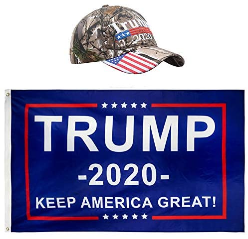 Donald Trump President 2020  - Keep America Great Flag 3x5 FT and KAG Hat USA Adjustable Baseball Cap