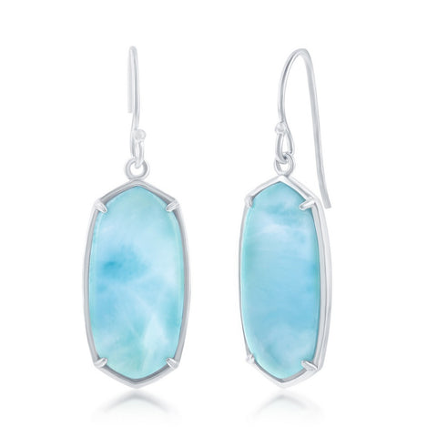 Sterling Silver Large Long Hexagon Larimar Earrings