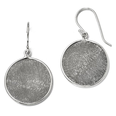 Sterling Silver Ruthenium-Plated Shepherd Hook Earrings
