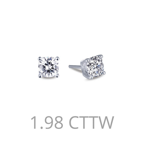 Lafonn-1.98 Carat Simulated Diamonds, Sterling Silver, Platinum Stud Earrings
