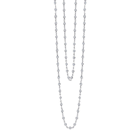 "Lafonn-20 Carat Simulated Diamonds, 36"" Sterling Silver, Platinum Necklace"