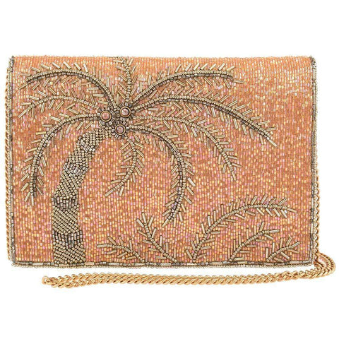 Mary Frances-Tropical State Of Mind Beaded Palm Trees Crossbody Handbag