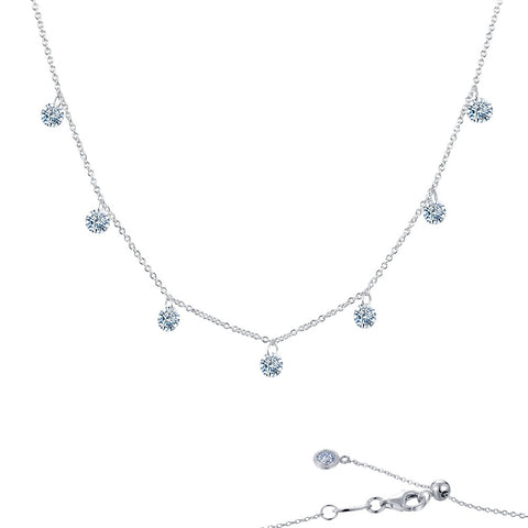 Lafonn-1.75 Carat Simulated Diamond, Sterling Silver, Platinum, Ribbon Dangle Necklace