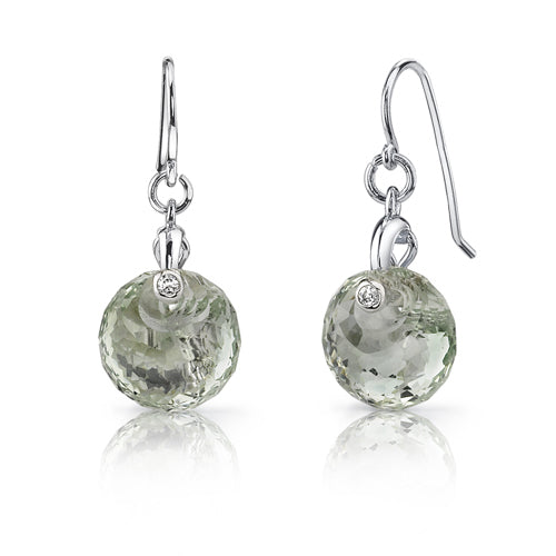 Sterling Silver Spherical Cut 7.00 Carats Green Amethyst Fishhook Earrings