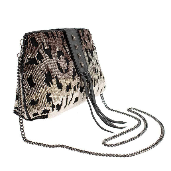 Mary Frances-Cheetah Chic Beaded Crossbody Handbag