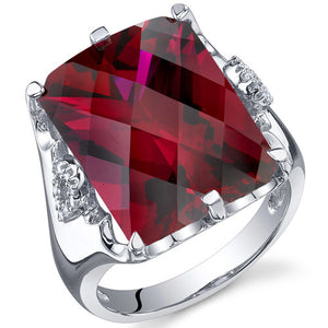 Royal Marvel 16.00 Carats Radiant Cut Ruby Sterling Silver Ring