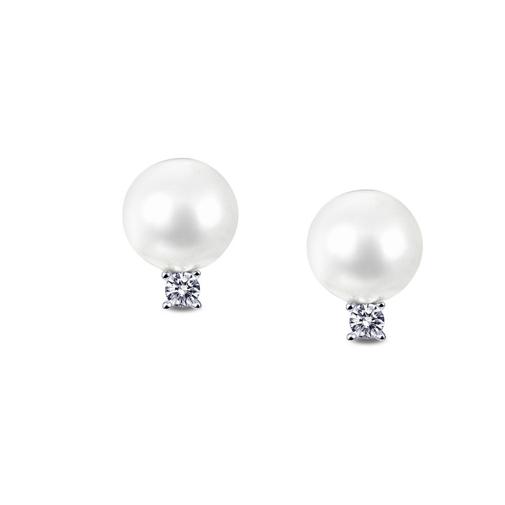 Lafonn-.16 Carat Simulated Diamonds, Cultured Freshwater Pearls, Sterling Silver, Platinum