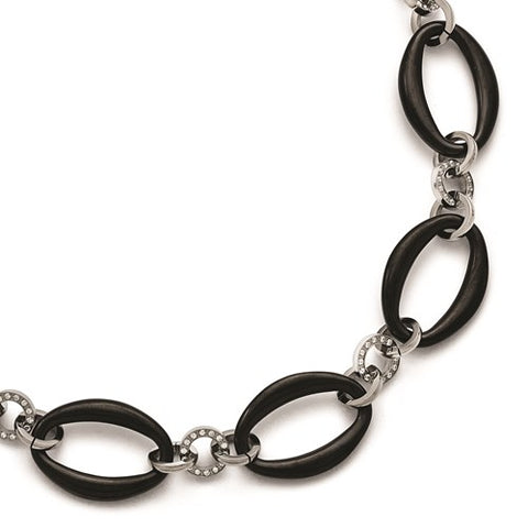 Titanium Polished Black IP-Plated Ovals CZs Necklace