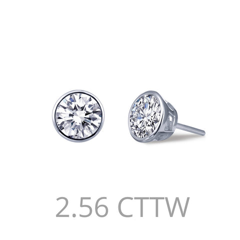 Lafonn-2.56 Carat Simulated Diamonds, Sterling Silver, Platinum, Bezel-Set Stud Earrings