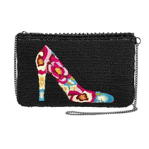 Mary Frances-In Step, Beaded Floral Embroidered High Heel Shoe Crossbody Phone Bag
