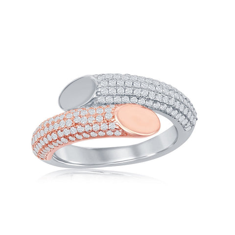 Sterling Silver Two-Tone Rose Gold Plated Micro Pave Bottom Flat Overlapping Ring