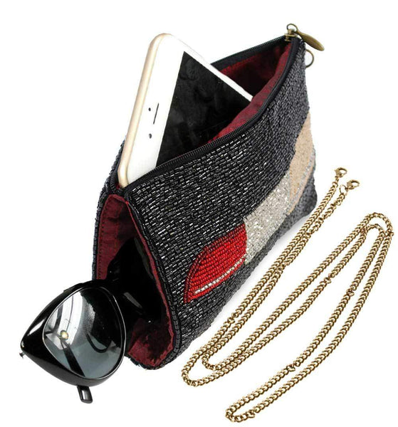 Mary Frances-Touch Up Beaded Lipstick Crossbody Phone Bag