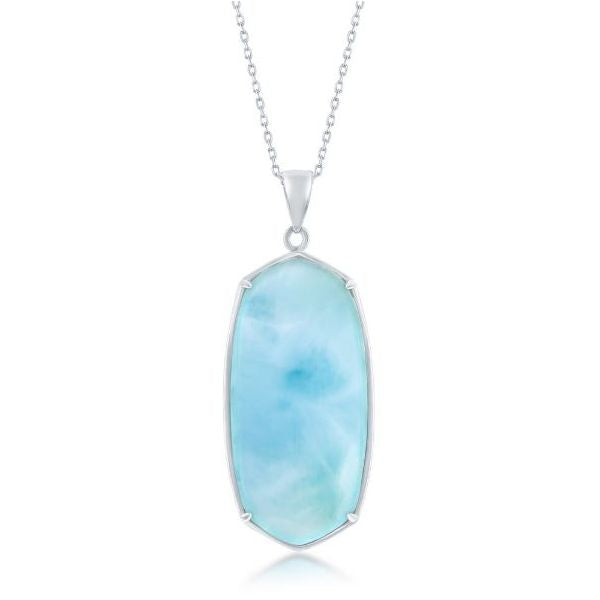 Sterling Silver Large Long Hexagon Larimar Pendant