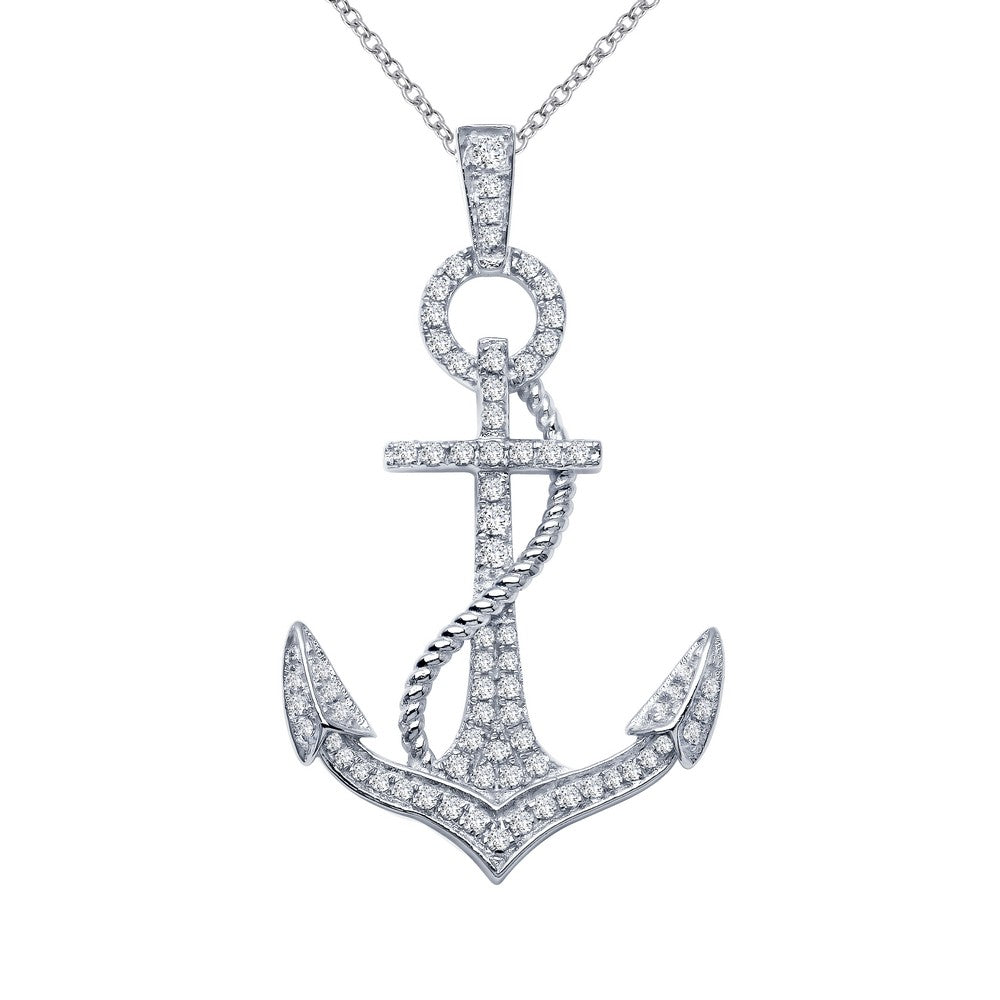 Lafonn-.74 Carat Simulated Diamonds, Sterling Silver, Platinum Anchor Pendant