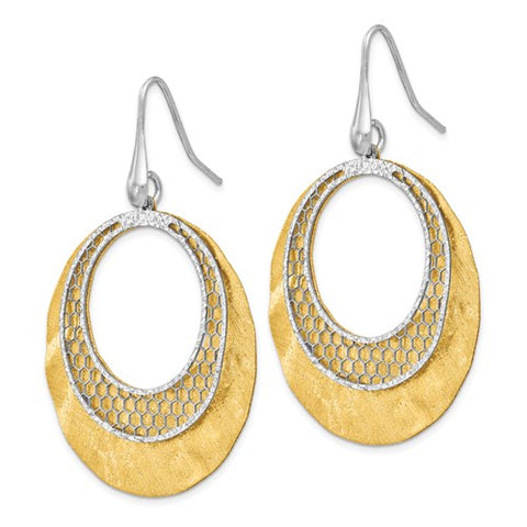 Sterling Silver Yellow And White D/C Scratch-Finish Earrings