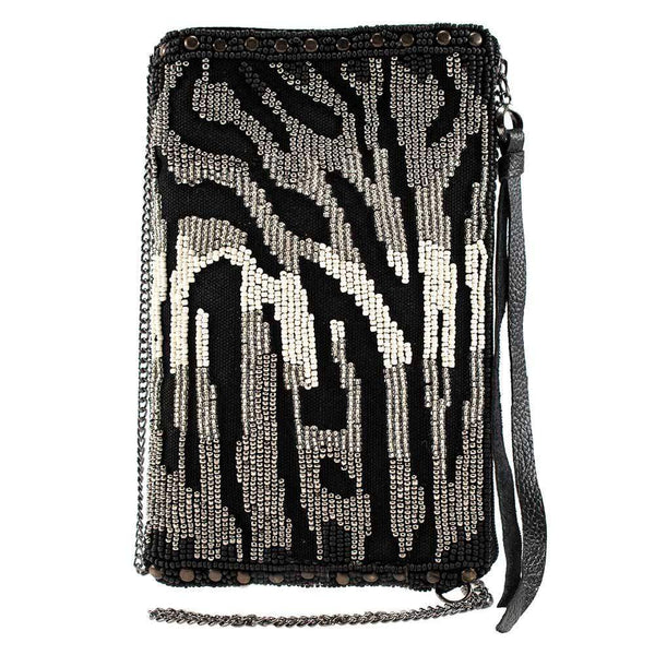 Mary Frances-All About The Zebra Beaded Crossbody Phone Bag