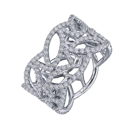 Lafonn-2.76 Carat Simulated Diamonds, Sterling Silver, Platinum, Open Work Band