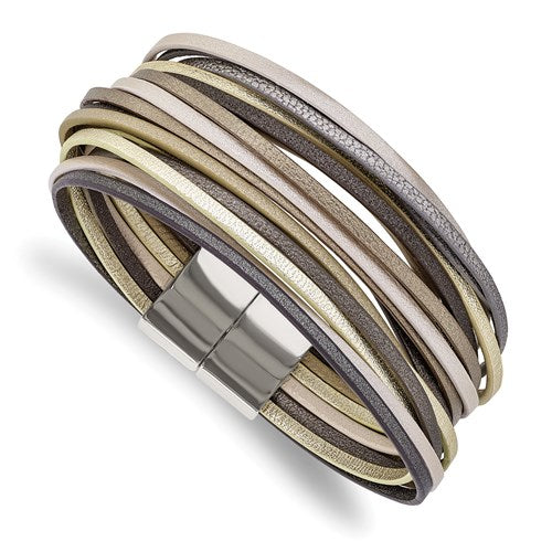 Multi Strand Metallic Faux Leather Bracelet