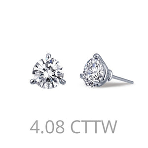 Lafonn-4.08 Carat Simulated Diamonds, Sterling Silver, Platinum Martini Stud Earrings