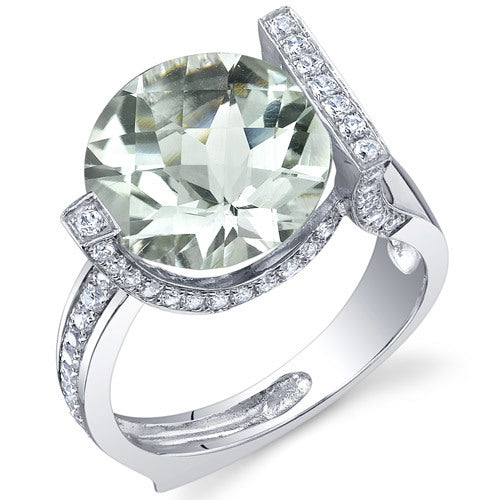 Artistic 5.00 Carats CheckerBoard Round Cut Green Amethyst Sterling Silver Ring in Sizes 5 to 9