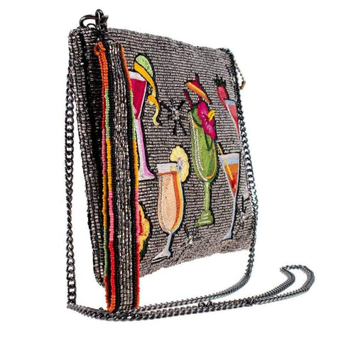 Mary Frances-Mixed Drinks Beaded Crossbody Clutch Handbag