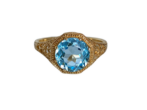 Filigree 1.7 Carat Blue Topaz, 14K Yellow Gold Ring