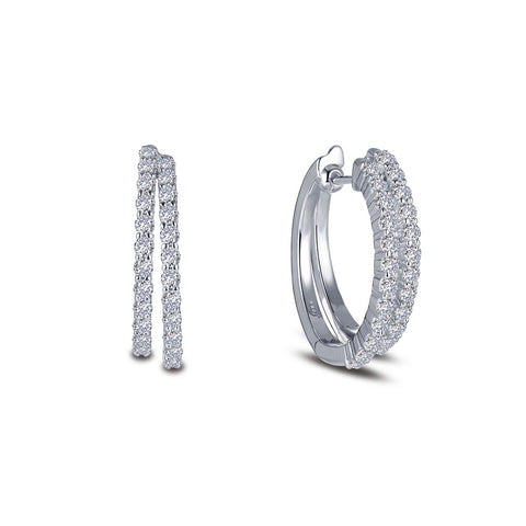 Lafonn-1.44 Carat Simulated Diamonds, Sterling, Platium. Oval Double Hoop Earrings