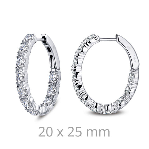 4.4 Carat Simulated Diamonds, Sterling, Platium. Oval Double Hoop Earrings