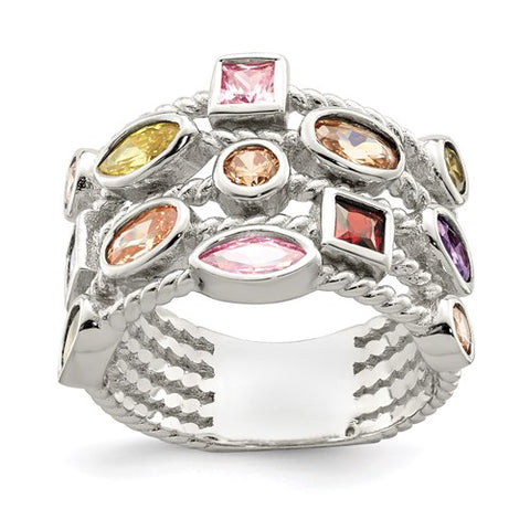 Sterling Silver Multi-Color, Multi-Shaped 5-Strand Ring