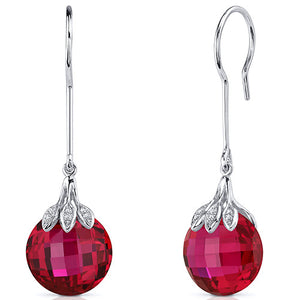 Double Sided Cut 20.00 Carats Ruby Dangle Sterling Silver Earrings