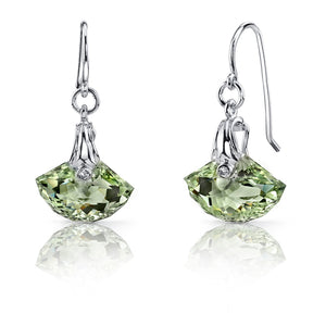 Shell Cut 9.00 Carats Green Amethyst Fishhook Sterling Silver Earrings