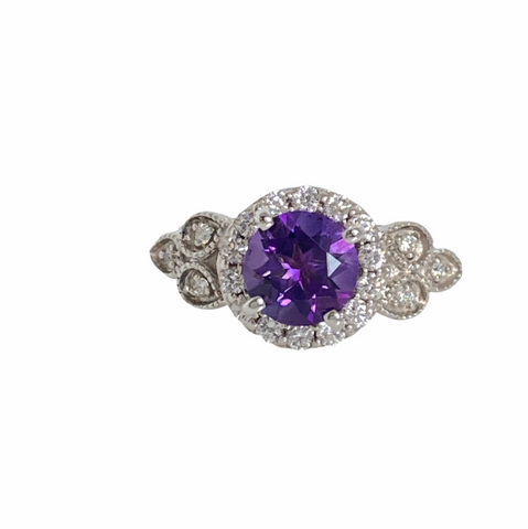 Amethyst and Diamond 14K White Gold Ring
