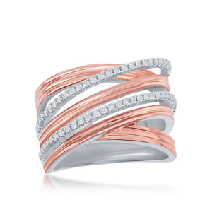 Sterling Silver Two-Tone Rose Gold CZ Double 'X' Interlocking Ring