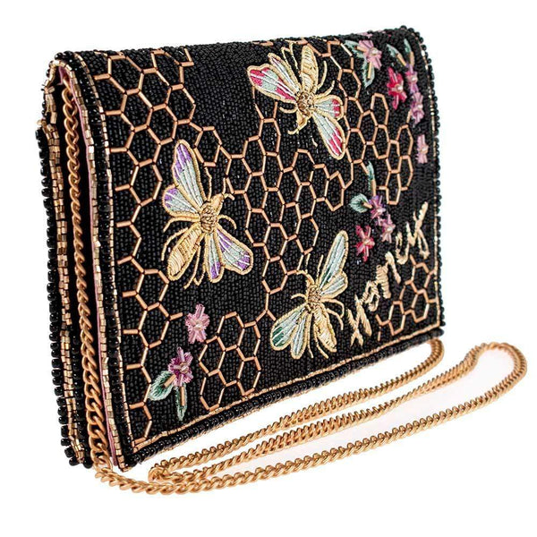 Mary Frances-Honey Bee Beaded Crossbody Clutch Handbag