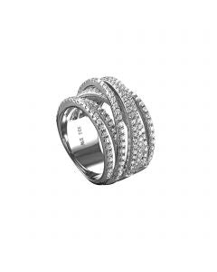 Sterling Silver Multi Roll CZ Interlocking Leverback Ring