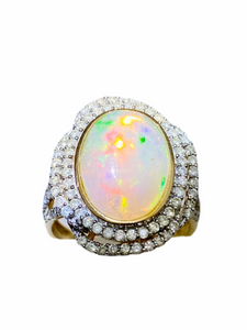 Estate: Opal and Diamond 14K Yellow Ring