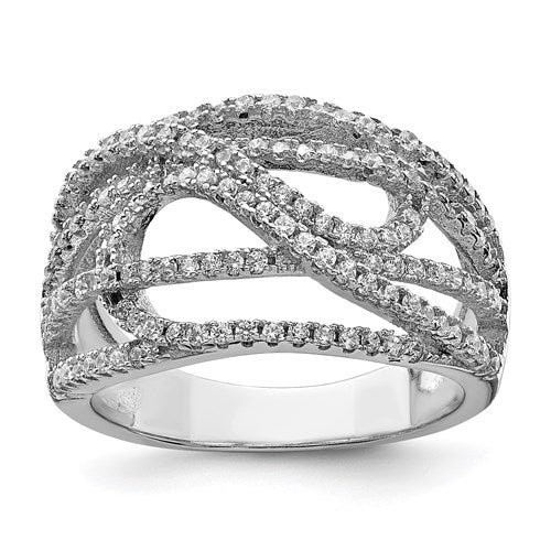 Sterling Silver Rhodium-Plated CZ Micro Pavé Ring