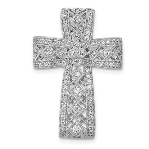 .56 Carat Diamond, 14K White Gold, Filigree Cross